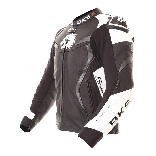 BKS Evolution Pro Black White Leather Motorcycle Jacket Side