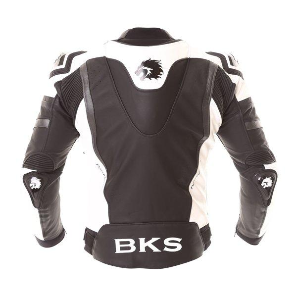 BKS Evolution Pro Black White Leather Motorcycle Jacket Back