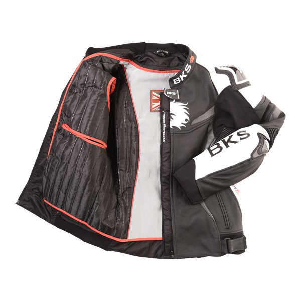 BKS Evolution Pro Black White Leather Motorcycle Jacket Inside