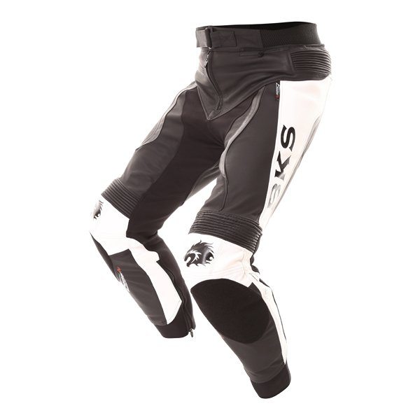 BKS Evolution Pro Black White Leather Motorcycle Jeans Riding crouch