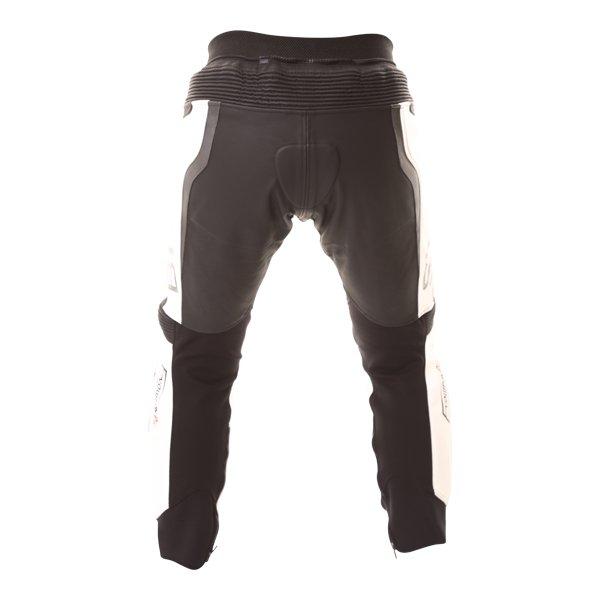 BKS Evolution Pro Black White Leather Motorcycle Jeans Rear