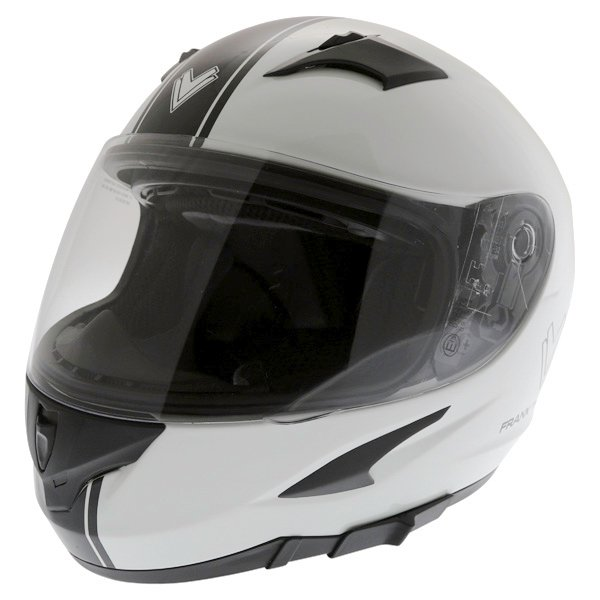 Frank Thomas FT36SV Retro White Black Full Face Motorcycle Helmet Front Left