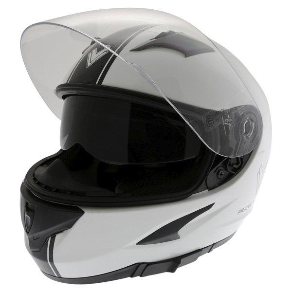 Frank Thomas FT36SV Retro White Black Full Face Motorcycle Helmet Open With Sun Visor