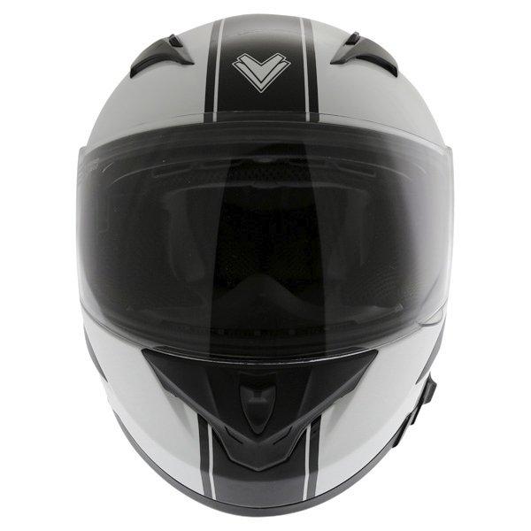 Frank Thomas FT36SV Retro White Black Full Face Motorcycle Helmet Front