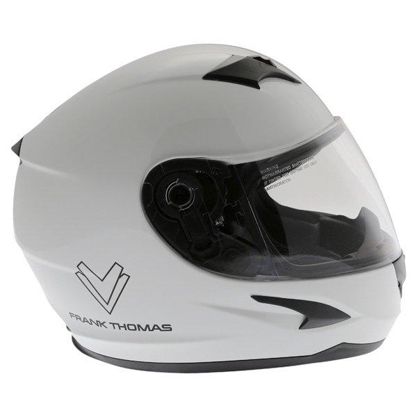 Frank Thomas FT36SV Retro White Black Full Face Motorcycle Helmet Right Side