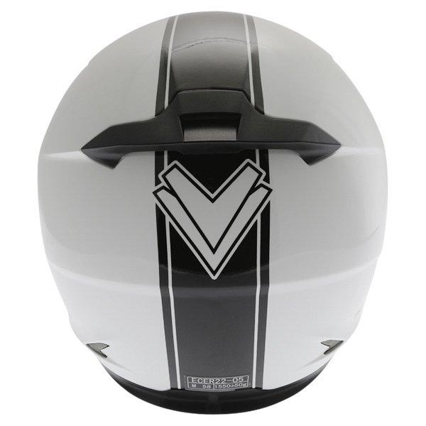 Frank Thomas FT36SV Retro White Black Full Face Motorcycle Helmet Back
