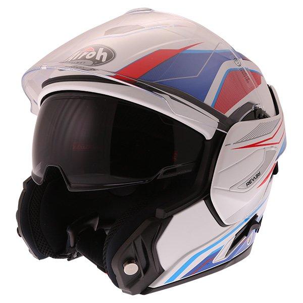 Airoh Rev Flip Up White Red Blue Flip Front Motorcycle Helmet Flip open
