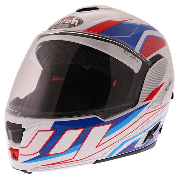 Airoh Rev Flip Up White Red Blue Flip Front Motorcycle Helmet Front left