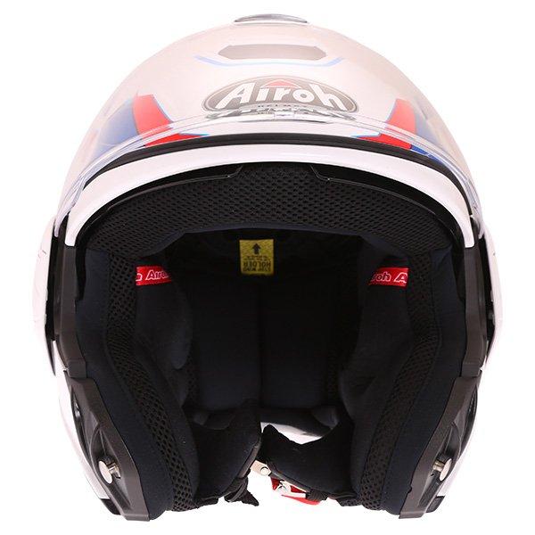 Airoh Rev Flip Up White Red Blue Flip Front Motorcycle Helmet Front