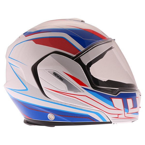 Airoh Rev Flip Up White Red Blue Flip Front Motorcycle Helmet Right side