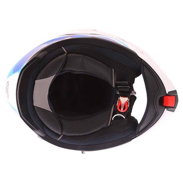 Airoh Rev Flip Up White Red Blue Flip Front Motorcycle Helmet Inside