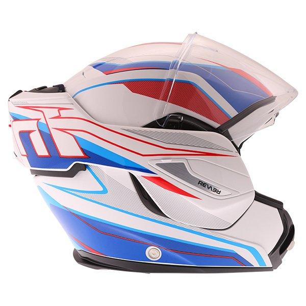 Airoh Rev Flip Up White Red Blue Flip Front Motorcycle Helmet Right side flip open