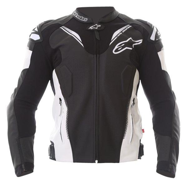 Alpinestars Atem V3 Black White Leather Motorcycle Jacket Front