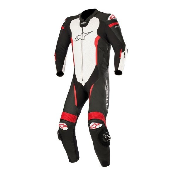 Alpinestars Missile Tech Air 1pc Mens Black White Fluo Red Leather Motorcycle Suit Front