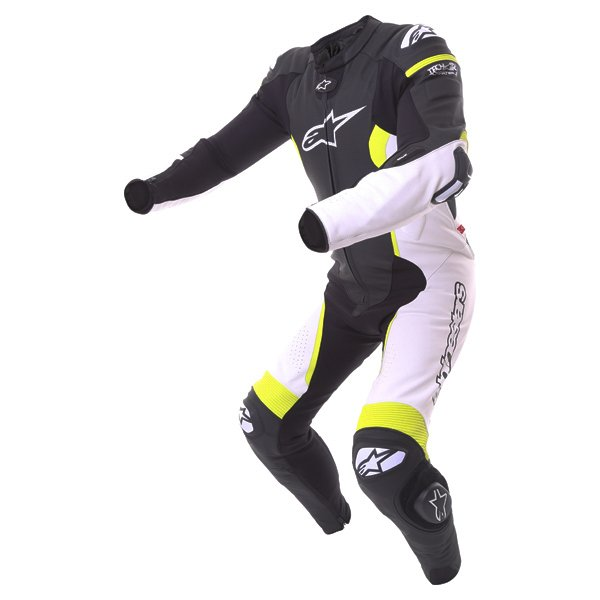 Alpinestars Missile Tech Air 1pc Mens Black White Fluo Yellow Leather Motorcycle Suit Racing crouch