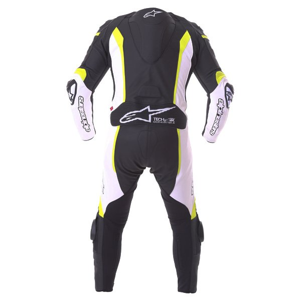 Alpinestars Missile Tech Air 1pc Mens Black White Fluo Yellow Leather Motorcycle Suit Back