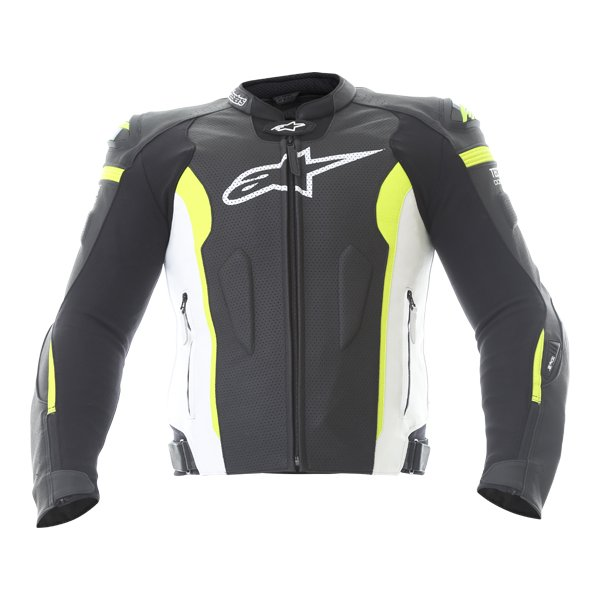 Alpinestars Missile Tech Air Black White Fluo Yellow Leather Motorcycle Jacket Front