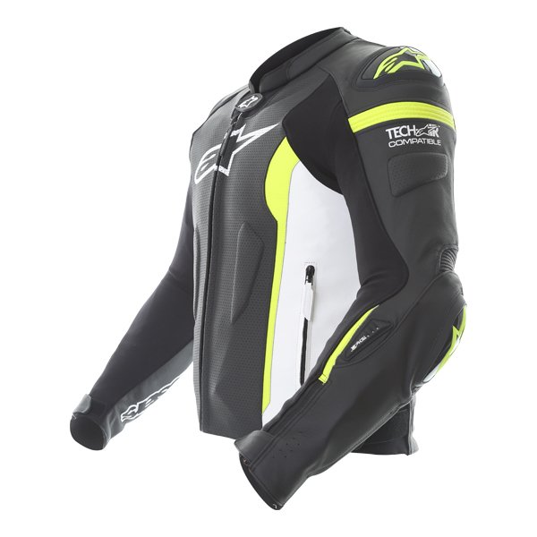 Alpinestars Missile Tech Air Black White Fluo Yellow Leather Motorcycle Jacket Side