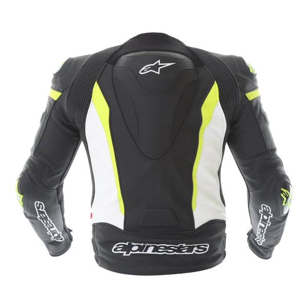 Alpinestars Missile Tech Air Black White Fluo Yellow Leather Motorcycle Jacket Back