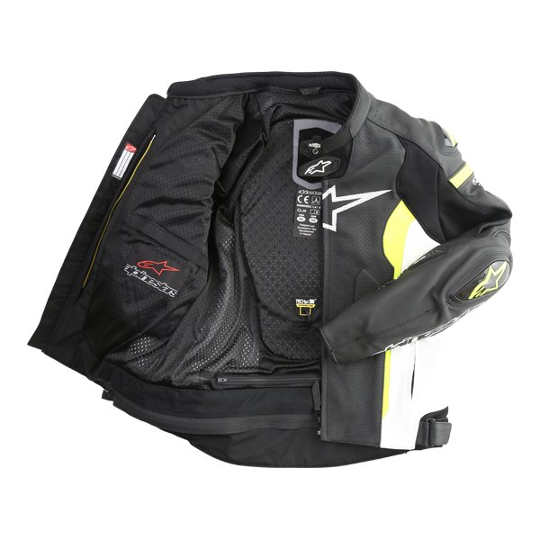 Alpinestars Missile Tech Air Black White Fluo Yellow Leather Motorcycle Jacket Inside