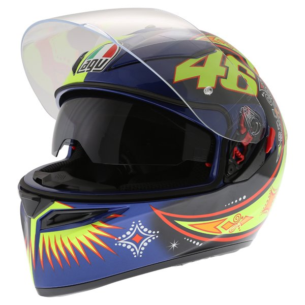 AGV K3 SV Rossi 2002 Full Face Motorcycle Helmet Open With Sun Visor