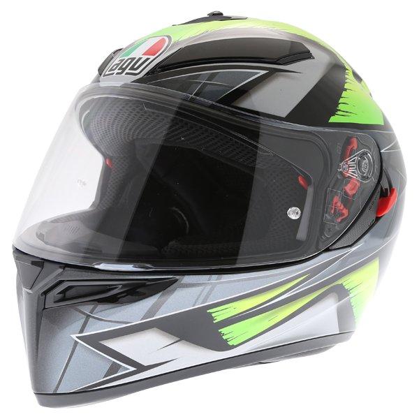 AGV K3 SV Liquefy Grey Flo Yellow Full Face Motorcycle Helmet Front Left