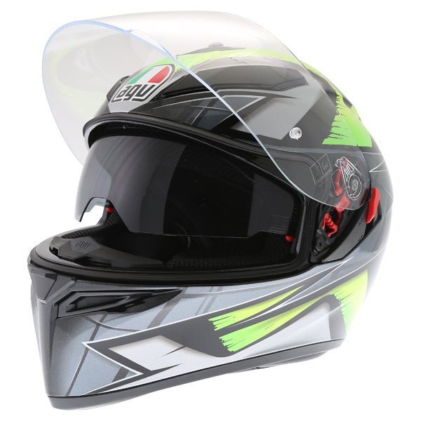 AGV K3 SV Liquefy Grey Flo Yellow Full Face Motorcycle Helmet Open With Sun Visor