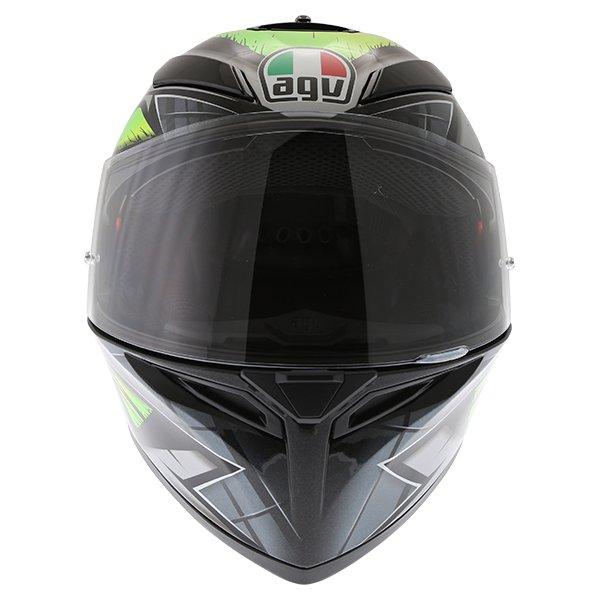 AGV K3 SV Liquefy Grey Flo Yellow Full Face Motorcycle Helmet Front