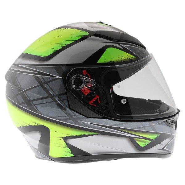 AGV K3 SV Liquefy Grey Flo Yellow Full Face Motorcycle Helmet Right Side