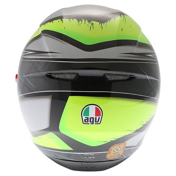 AGV K3 SV Liquefy Grey Flo Yellow Full Face Motorcycle Helmet Back