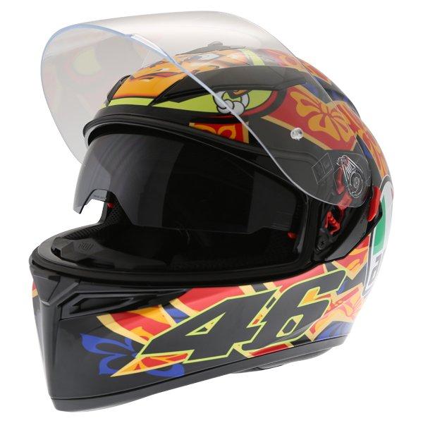 AGV K3 SV Mugello 2001 Black Full Face Motorcycle Helmet Open With Sun Visor