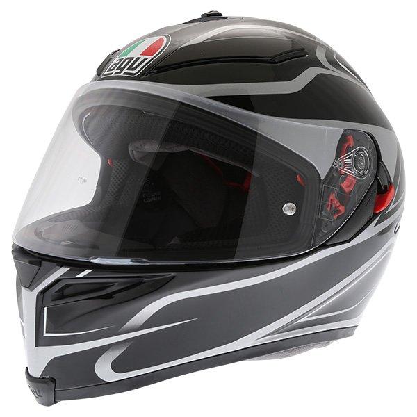 AGV K5-S Magnitude Black Silver Full Face Motorcycle Helmet Front Left
