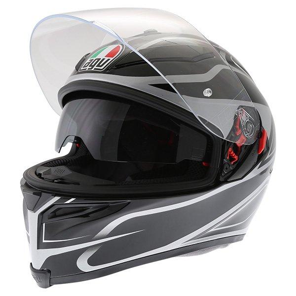 AGV K5-S Magnitude Black Silver Full Face Motorcycle Helmet Open With Sun Visor