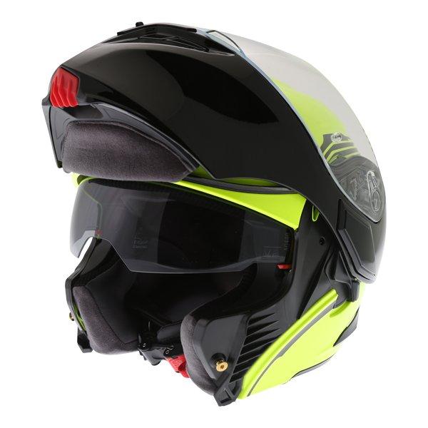 AGV Compact-ST Vermont Flo Yellow Black Flip Front Motorcycle Helmet Flip open