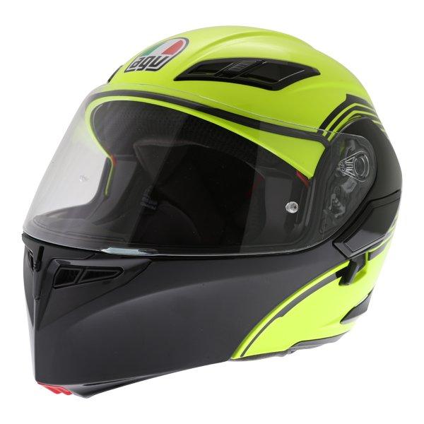 AGV Compact-ST Vermont Flo Yellow Black Flip Front Motorcycle Helmet Front left