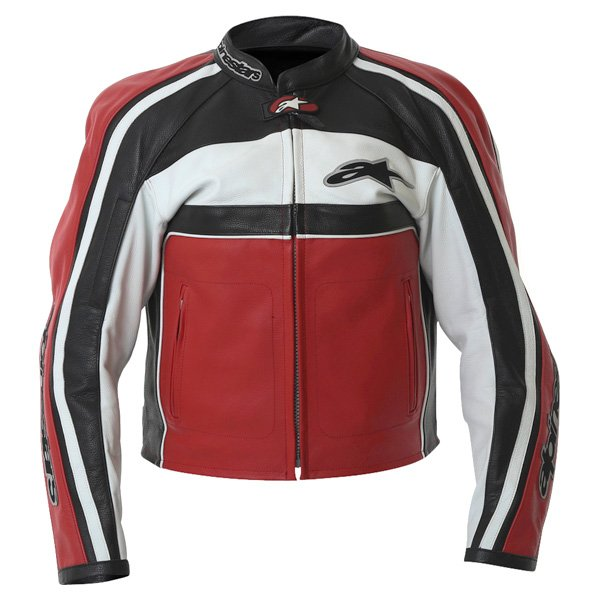 Alpinestars Dyno 2 Red White Black Retro Leather Motorcycle Jacket Front
