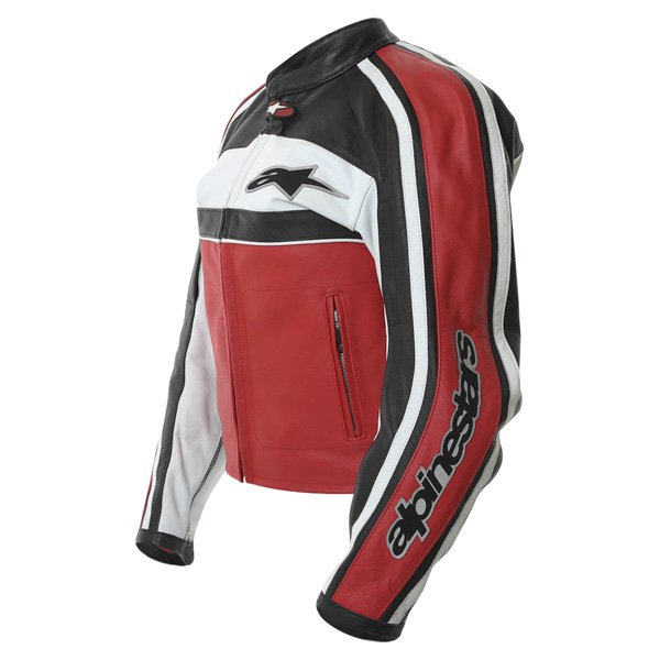 Alpinestars Dyno 2 Red White Black Retro Leather Motorcycle Jacket Side