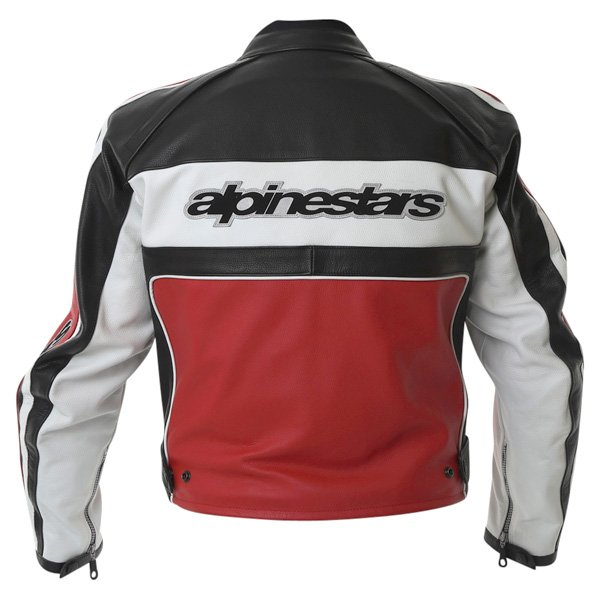 Alpinestars Dyno 2 Red White Black Retro Leather Motorcycle Jacket Back