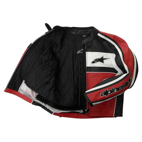 Alpinestars Dyno 2 Red White Black Retro Leather Motorcycle Jacket Inside