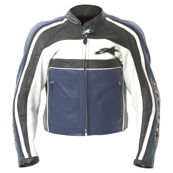 Alpinestars Dyno 2 Blue White Black Leather Retro Motorcycle Jacket Front