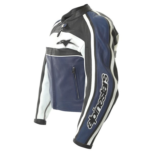 Alpinestars Dyno 2 Blue White Black Leather Retro Motorcycle Jacket Side