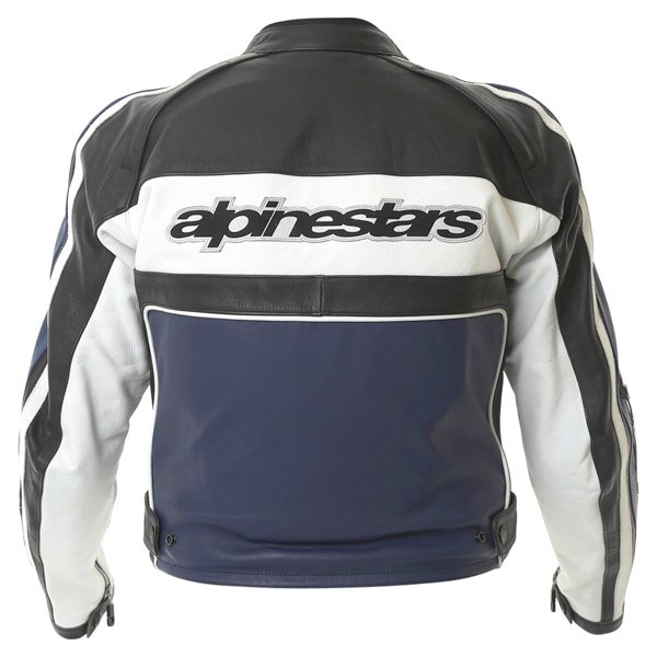 Alpinestars Dyno 2 Blue White Black Leather Retro Motorcycle Jacket Back