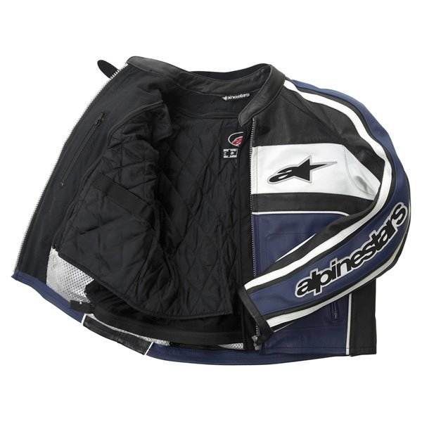 Alpinestars Dyno 2 Blue White Black Leather Retro Motorcycle Jacket Inside