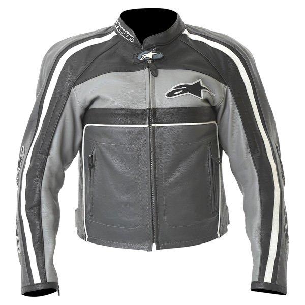 Alpinestars Dyno 2 Anthracite Grey Black Leather Retro Motorcycle Jacket Front
