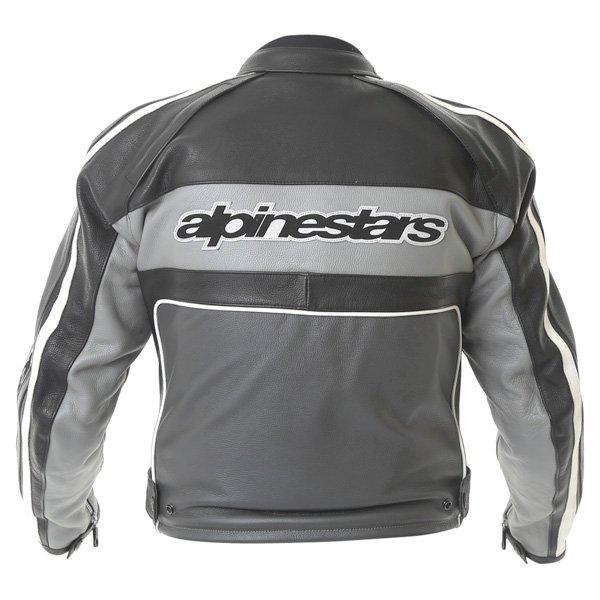 Alpinestars Dyno 2 Anthracite Grey Black Leather Retro Motorcycle Jacket Back