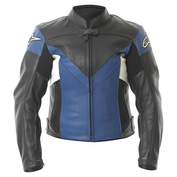 Alpinestars Sphere Blue Black Leather Motorcycle Jacket Front