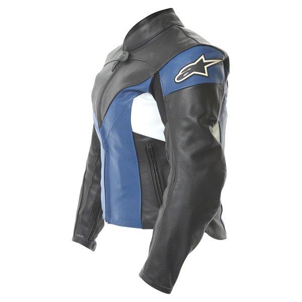 Alpinestars Sphere Blue Black Leather Motorcycle Jacket Side