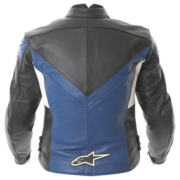 Alpinestars Sphere Blue Black Leather Motorcycle Jacket Back