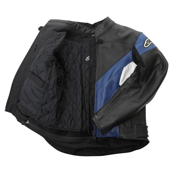 Alpinestars Sphere Blue Black Leather Motorcycle Jacket Inside