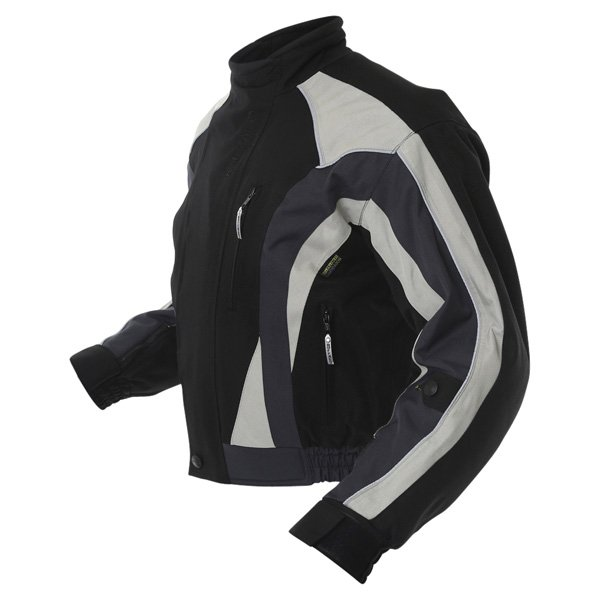 Buffalo Commando Mens Black Grey Textile Motorcycle Jacket Side